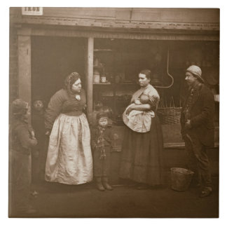 Sufferers from the Flood, from 'Street Life in Lon Large Square Tile