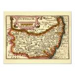 """Suffolck"" Suffolk County Map 11 Cm X 14 Cm Invitation Card"