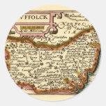 """""""Suffolck"""" Suffolk County Map Round Sticker"""