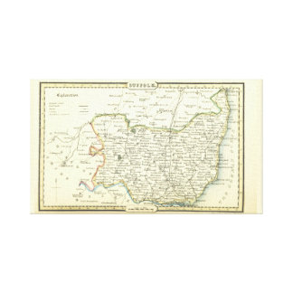 Suffolk antique vintage map (England) Canvas Print