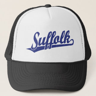 Suffolk script logo in blue distressed trucker hat