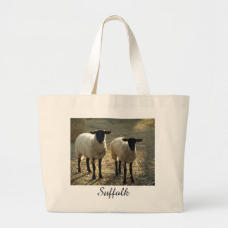 Suffolk Sheep Afternoon Sunlight Pastoral Scene Large Tote Bag