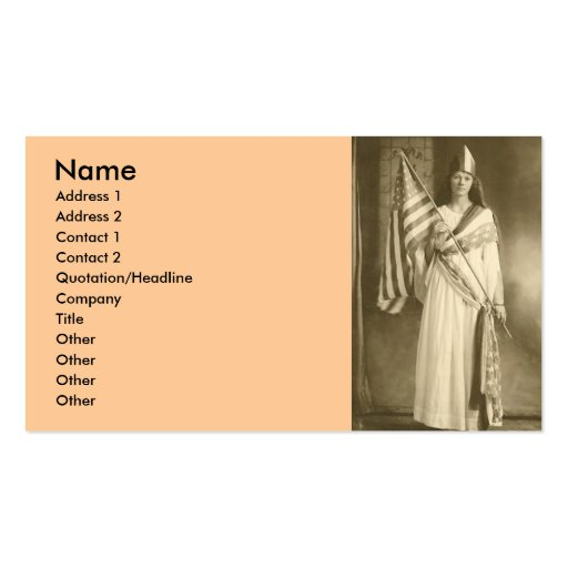 suffrage liberty lady business card