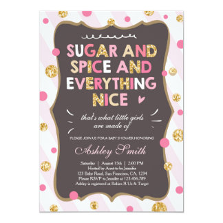 Sugar and Spice Baby Shower Invitation Girl Pink