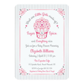 Sugar and Spice Cupcake Baby Girl Shower Invite