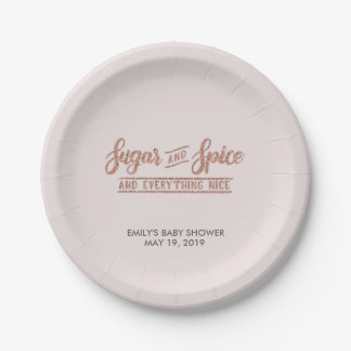 Sugar and Spice Rose Gold Typography Baby Shower Paper Plate