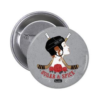 Sugar and Spice Womens Hockey 6 Cm Round Badge