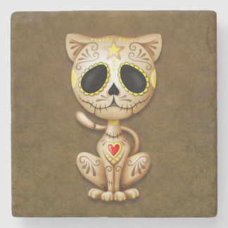 sugar cat brBrown Zombie Sugar Kitten Stone Coaster