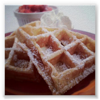 Sugar Covered Waffle and Fresh Strawberries Poster