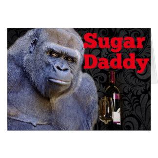 Sugar Daddy Black Damask Gorilla Greeting Card