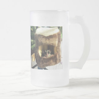 Sugar Glider in Furry Tree Truck Hanging Bed Frosted Glass Mug