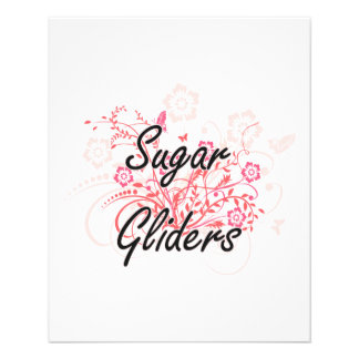 Sugar Gliders with flowers background 11.5 Cm X 14 Cm Flyer