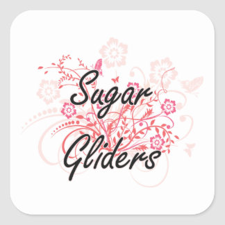 Sugar Gliders with flowers background Square Sticker