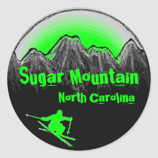 Sugar Mountain North Carolina green ski stickers
