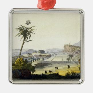 Sugar Plantation, Antilles (colour engraving) Silver-Colored Square Decoration