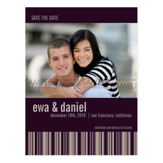 Sugar Plum Stripes :: Save the Date Photo Postcard