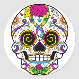 Sugar Skull 44 Square and Round Stickers