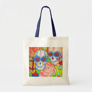 sugar skull & anchor sea tote bag tattoo style