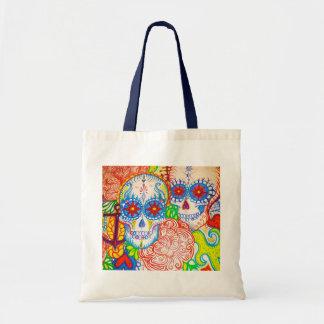 sugar skull & anchor sea tote bag tattoo style