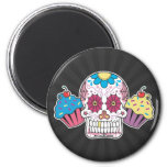 Sugar Skull and Cupcakes 6 Cm Round Magnet