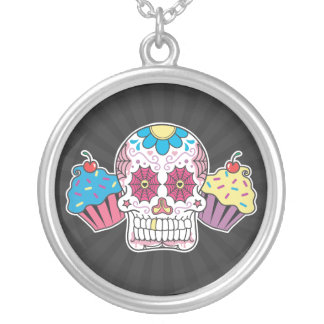 Sugar Skull and Cupcakes Round Pendant Necklace