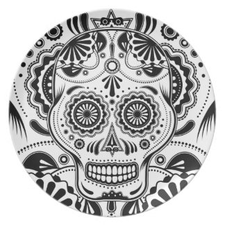 "Sugar Skull Art ""Day of the Dead"" plate"