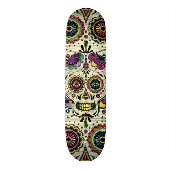 Sugar Skull Art Day Of The Dead Skateboard Zazzle Co Uk