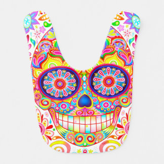 Sugar Skull Baby Bib - Colorful Art