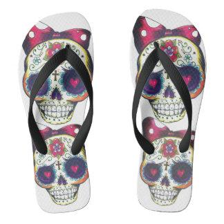 sugar skull baby flip flops
