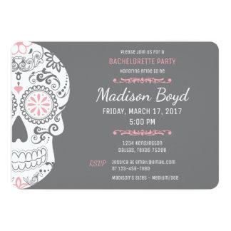Sugar Skull Bachelorette Party Pink & Grey Invites