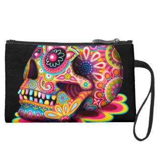 Sugar Skull Bag - Clutch Accessory Pouch Wristlet