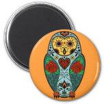 Sugar Skull Barn Owl 6 Cm Round Magnet