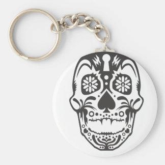 Sugar Skull Basic Round Button Key Ring