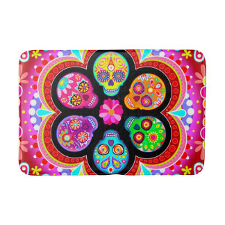 Sugar Skull Bath Mat - Day of the Dead Art