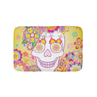 Sugar Skull Bath Mat - Day of the Dead Art Bath Mats