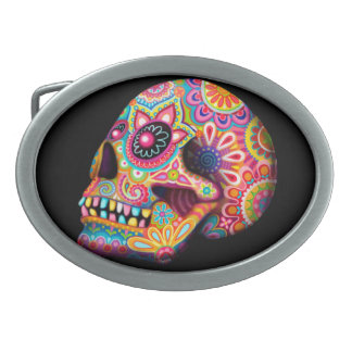 Sugar Skull Belt Buckle - Day of the Dead Art