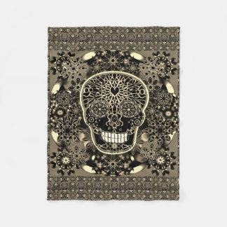 Sugar Skull Black and Gold Fleece Blanket