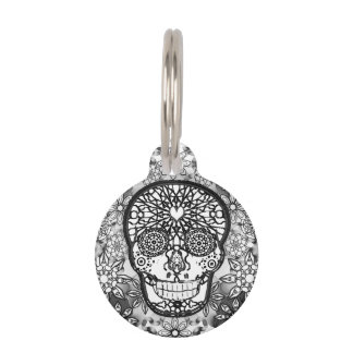 Sugar Skull Black and White Pet Nametag