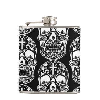 Sugar Skull Black.png Hip Flask