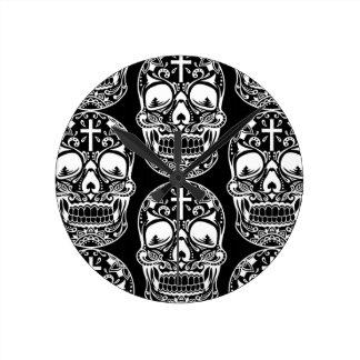 Sugar Skull Black.png Round Clock