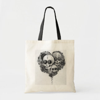 sugar skull black & white flower heart bag