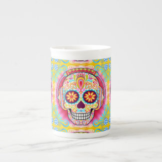 Sugar Skull Bone China Mug - Day of the Dead Art