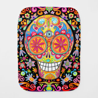 Sugar Skull Burp Cloth - Day of the Dead Art