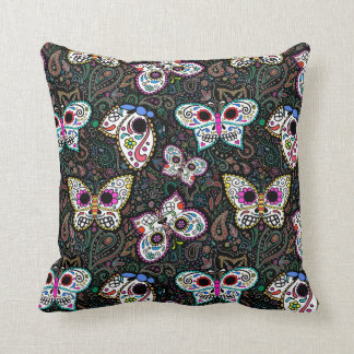sugar skull butterflies throw pillow, cute spooky cushion