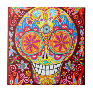 Sugar Skull Calavera Ceramic Tile