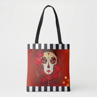 Sugar skull calavera stripe reusable tote bag