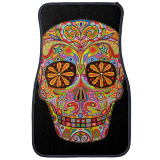 Sugar Skull Car Mats - Front Set of 2 Car Mats Car Mat