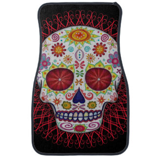 Sugar Skull Car Mats - Front Set of 2 Floor Mat