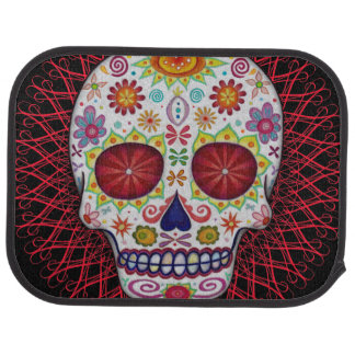 Sugar Skull Car Mats - Rear Set of 2 Floor Mat
