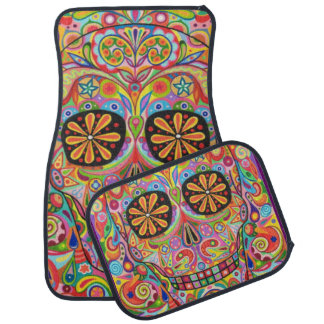 Sugar Skull Car Mats - Set of 4 Mats Floor Mat